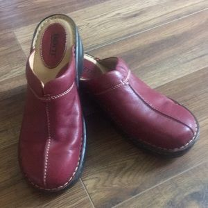 Red Leather Born Slip On Shoes. Great condition.